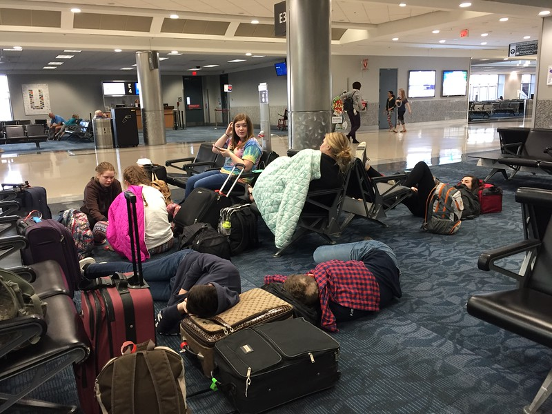 DAY 1<br /> Sleepy kids at a layover in ATL