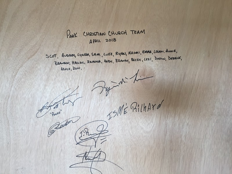 DAY 6<br /> Before Ryan, Nelson, Richard & I put on one of the final pieces of wall, we signed it.