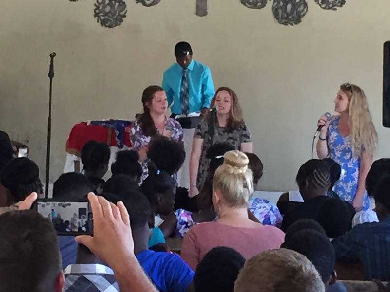DAY 8<br /> Emma, Becky and Lynlea were invited to sing during the church service.