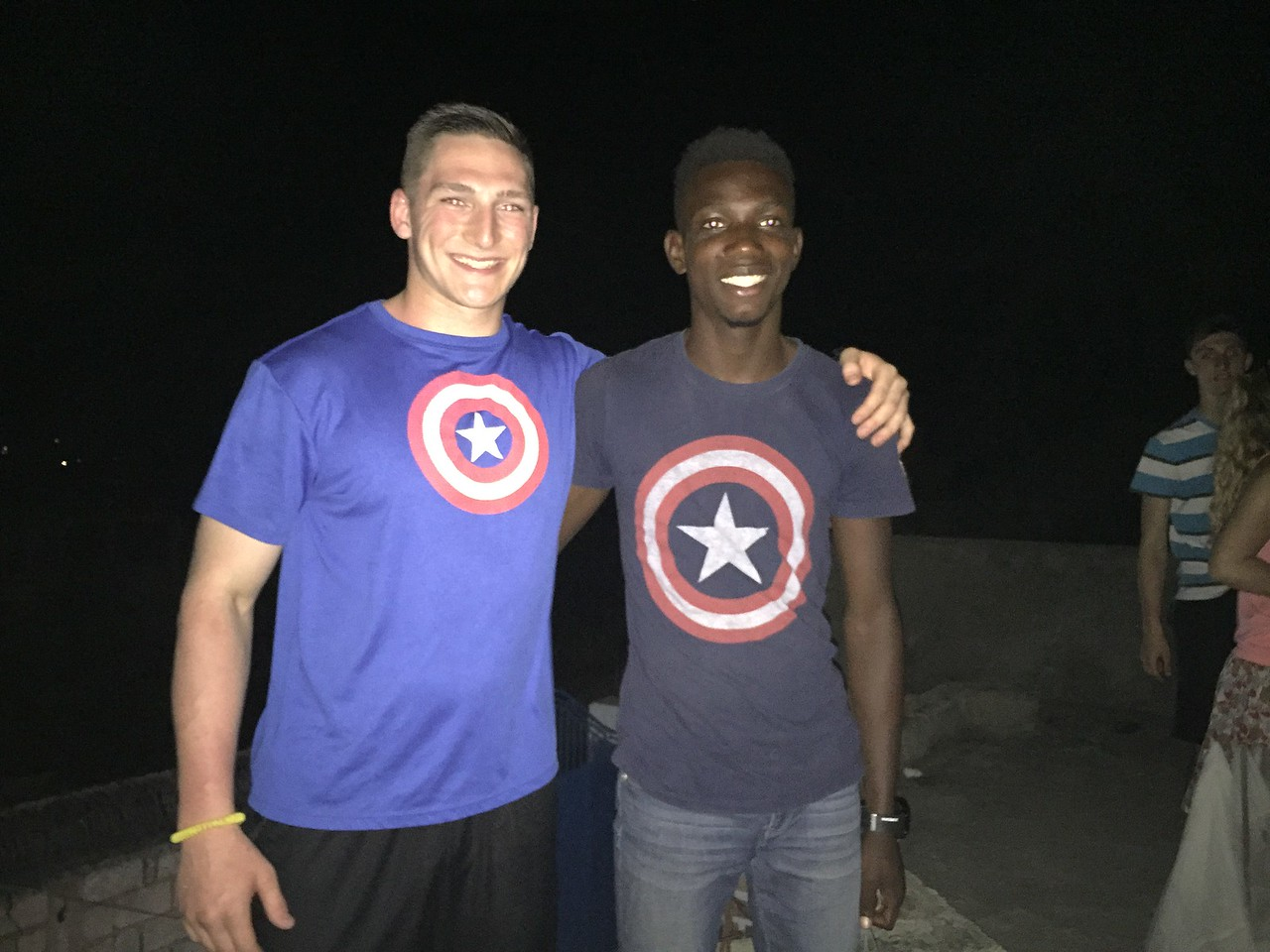DAY 4<br /> The Captains America.<br /> Dustin and Stevens on the roof of the team house.