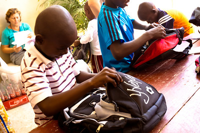 Boys with backpacks from Mission Veijo Community Church.