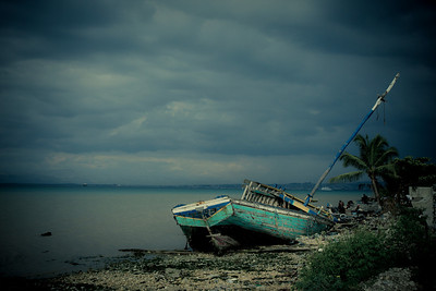 Fishing boat ship wrecked in Carrefour, Haiti