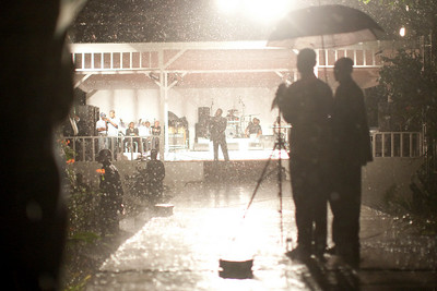 A rain storm blew in during one night of the crusade. Carrefour, Haiti