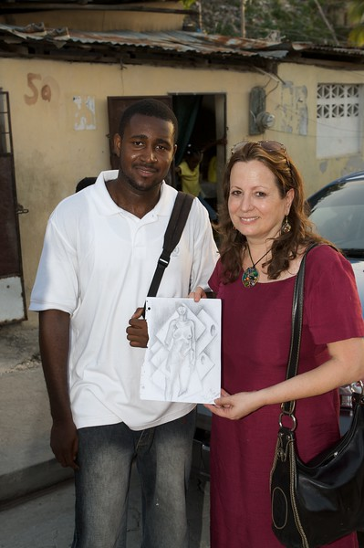 Linda with local artist.