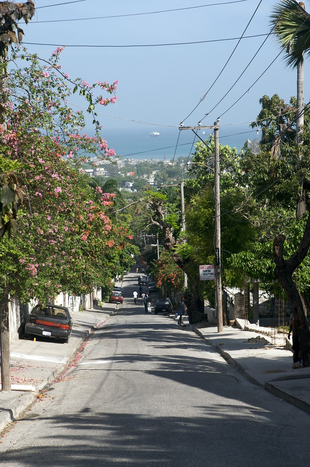 Looking down a typical Haitian street.  This one happens to be the one just outside the Prince Hotel we stayed at.