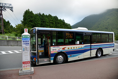 The bus ride back from Hakone Ropeway station at Hakone, Kanagawa, Japan to Odawara from Lake Ashi.  Hakone (箱根町) is a town in Ashigarashimo District in Kanagawa Prefecture, Japan. Hakone is located in the mountainous far west of the prefecture, on the eastern side of Hakone Pass. Most of the town is within the borders of the volcanically active Fuji-Hakone-Izu National Park, centered around Lake Ashi. Hakone is the location of a noted Shinto shrine, the Hakone Gongen, which is mentioned in Heian period literature. Hakone is noted for its onsen hot spring resorts, which attract both Japanese and international visitors due to its proximity to the greater Tokyo metropolis and to Mount Fuji. Hakone is a very popular tourist destination and best accessed from Odawara.