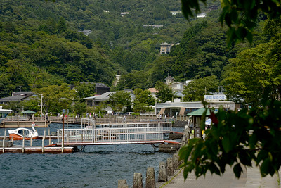 Tokai-do, Hakone-machi, Ashigarashimo-gun, Kanagawa-ken.  Hakone (箱根町) is a town in Ashigarashimo District in Kanagawa Prefecture, Japan. Hakone is located in the mountainous far west of the prefecture, on the eastern side of Hakone Pass. Most of the town is within the borders of the volcanically active Fuji-Hakone-Izu National Park, centered around Lake Ashi. Hakone is the location of a noted Shinto shrine, the Hakone Gongen, which is mentioned in Heian period literature. Hakone is noted for its onsen hot spring resorts, which attract both Japanese and international visitors due to its proximity to the greater Tokyo metropolis and to Mount Fuji. Hakone is a very popular tourist destination and best accessed from Odawara.