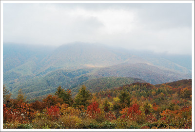We were hoping for a clear view of the Hakuba mountain range, but it was covered in fog and rain.