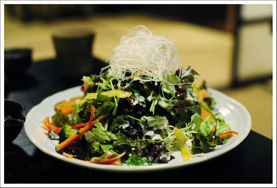 Our salad made up to look like a dusting of snow on autumn mountains
