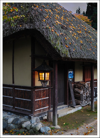 A little tea shop.  Many buildings had fire wood stacked up outside.