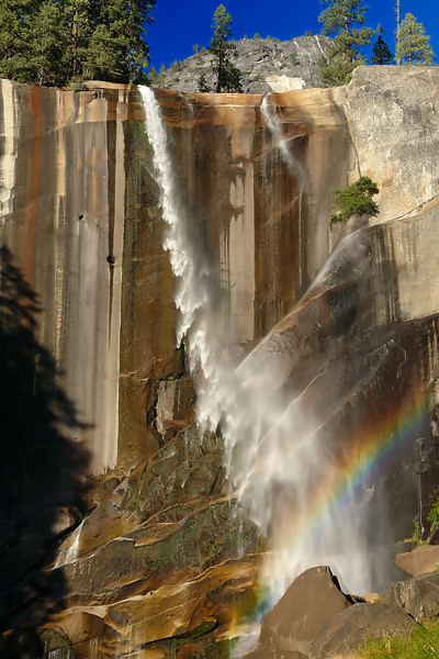 Vernal Falls gives off a Rainbow. On our way down.