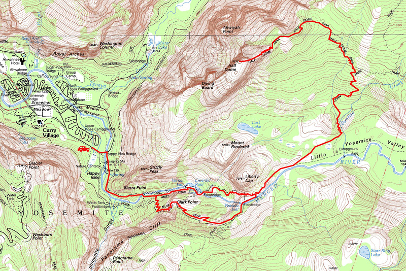 """Half Dome trip map. Left click on map then select """"Sizes -> Original"""" in bottom right corner of screen to view full size."""