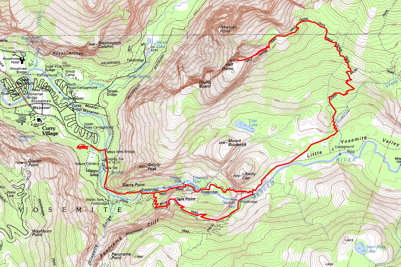 "Half Dome trip map. Left click on map then select ""Sizes -> Original"" in bottom right corner of screen to view full size."