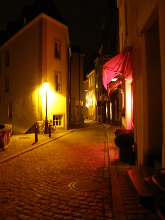 Luxembourg side street at night