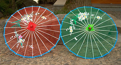 Umbrellas near a souvenir shop.