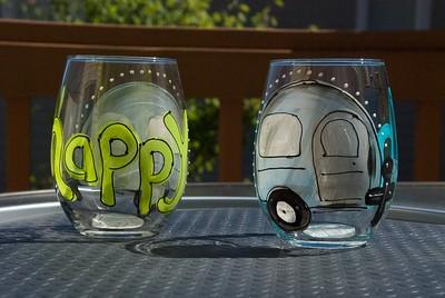 Happy camper wine glasses