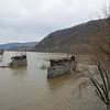 The ruins of an old bridge across the Potomac still stand