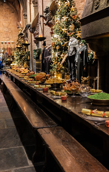 Christmas dinner is laid out in the Great Hall