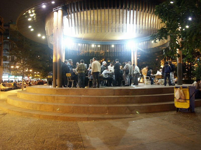 Chess players in a plaza in Santiago.