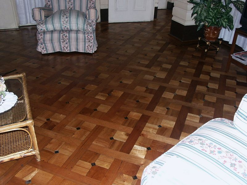 Beautiful parquet floor at Lilia and Carlos'.