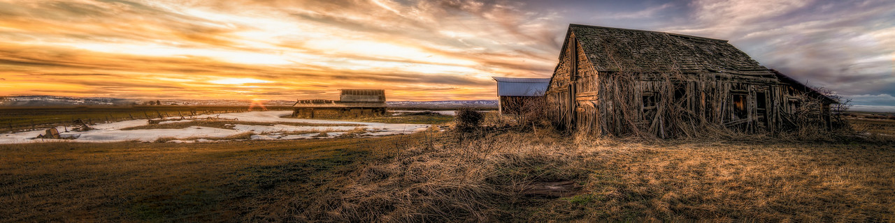 Panorama sunset of an old shack