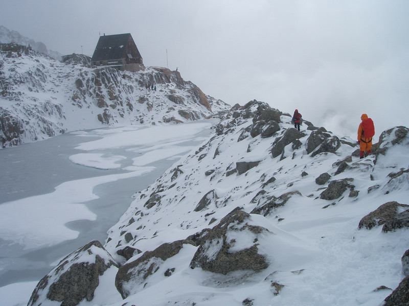 Tomoko(right) and Emmo trek to the Orny hut. The surface of pond was frozen.