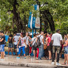 Cuba is a country of lines, Coppella the most popular ice cream spot,  Havana, Cuba, June 2, 2016.