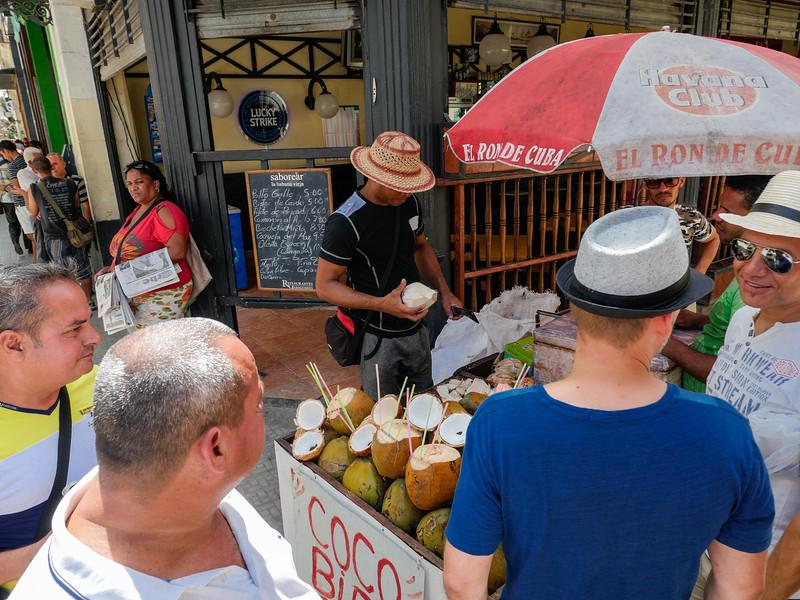 Coconut Water, Old Havana, Cuba, June 11, 2016.