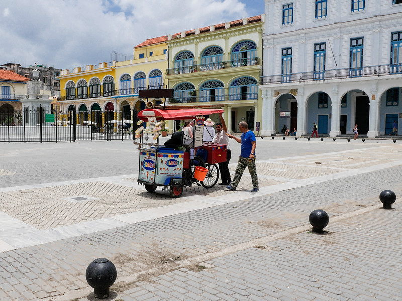 Ice cream vendor, Plaza Vieja, Old Havana, Cuba, June 11, 2016.