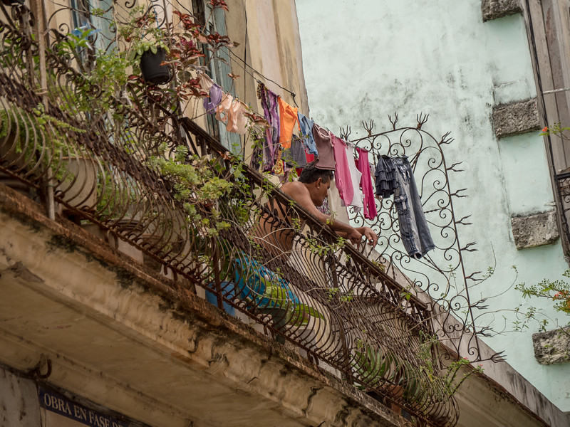Man with Laundry.  Calle de Los Mercaderes,  Havana, Cuba, June 2, 2016.