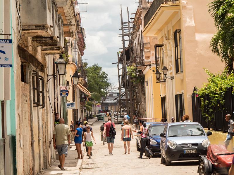 Views along Calle de Los Mercaderes,  Havana, Cuba, June 2, 2016.