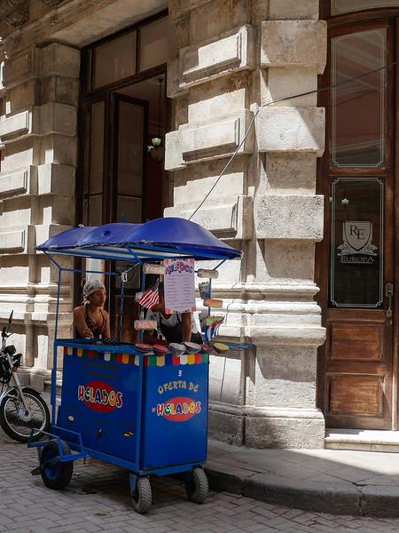 Ice cream vendor, Old Havana, Cuba, June 11, 2016.