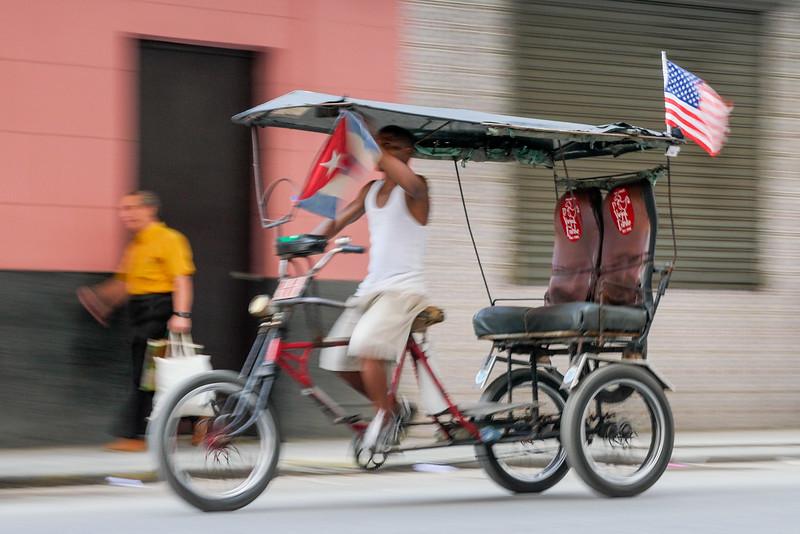 Bicitaxi, bicycle taxi, Havana, Cuba, June 11, 2016.