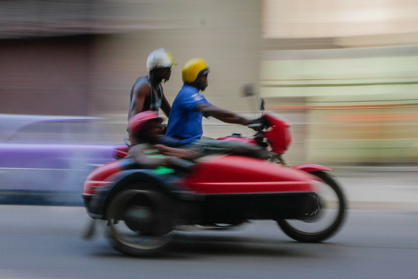 Motor cycle and side car, Havana, Cuba, June 11, 2016.