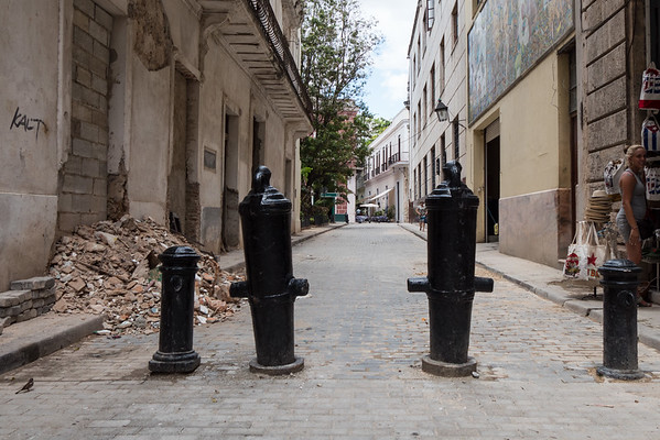 Road control by using old cannons,  Havana, Cuba, June 2, 2016.
