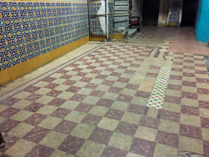 Tiled wall and floor, Old Havana, Cuba, June 2. 2016.