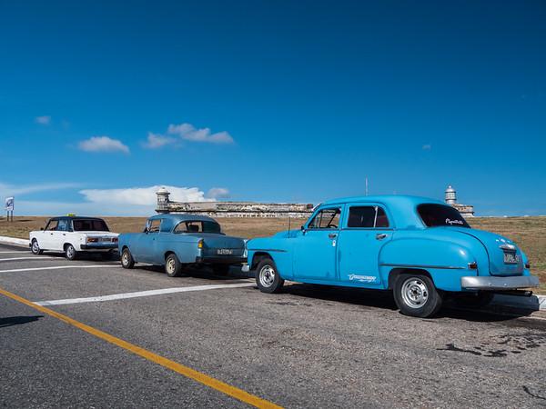 Taxis await at El Morro, Havana, Cuba, June 2, 2016.
