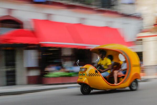 Cocotaxi i in motion,  Havana, Cuba, June 11, 2016.