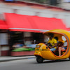 Cocotaxi i in motion,  Havana, Cuba, June 11, 2016.