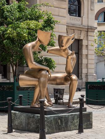 The Conversation Sculpture in the Saint Francis de Assisi plaza (La Conversacion),  Havana, Cuba, June 2, 2016.