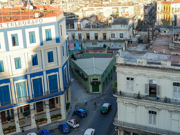 Pizza Wedge Building, Viewed from the Iberostar Parque Central Hotel, Havana, Cuba, June 3, 2016.