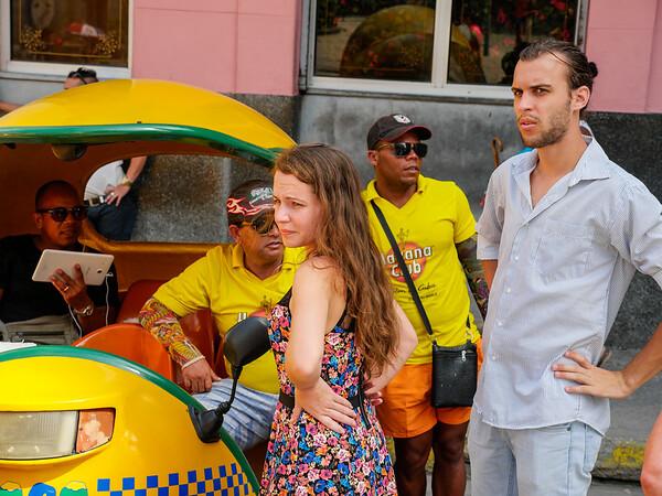 Cocotaxi lined up  in front of Floridita,  Hemingway's favorite bar, Havana, Cuba, June 11. 2016.