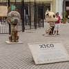 Xico sculptures in Plaza de San Francisco, Havana, Cuba, June 2, 2016.