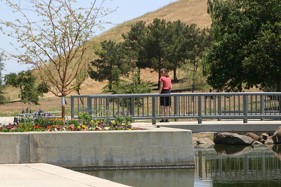 The natural pond feeds into more formal reflecting ponds with planters for flowers and a bridge for contemplation. Linda contemplates.