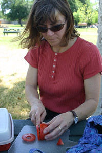 We get out our luncheon gear.  Linda slices the tomatoes.