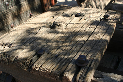 I loved the texture of this old, weathered wood on an abandoned cart.