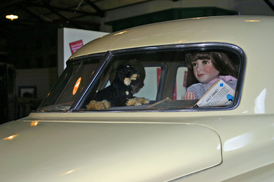 Another diorama; a Studebaker with its pet dog in the rear window.