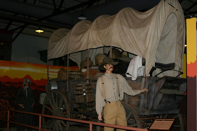Life-sized dioramas showed the history of people traversing Route 66 (or its predecessor). Covering all those miles of nothing--no water, no shade, nothing--in our air-conditioned van at 70 MPH, we pondered 19th-century walking/wagon-based travelers with awe.