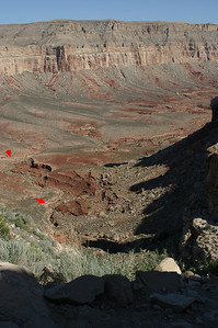 --where I have pointed to some visible sections of the trail. That's a very wide trail and that's a very long way down. The first section descends about 900 feet over about a mile and a half, with the steep part ending in the canyon bottom around the middle of this photo.