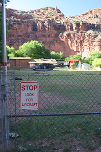 A field in the middle of town is multipurpose; also serves as the heliport several times a day. Other than foot and horseback, this is the only other way for people and supplies to come into and out of Supai.